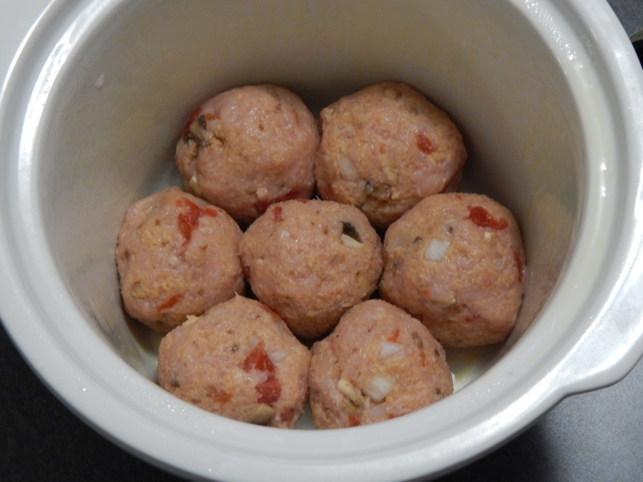 First layer of meatballs