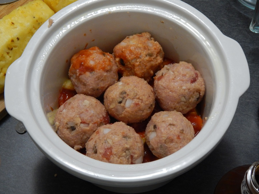Second layer of meatballs