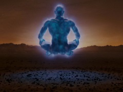 Dr. Manhattan, levitating in the lotus position on Mars.