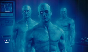 Dr. Manhattan, with two additional instances of himself in the background